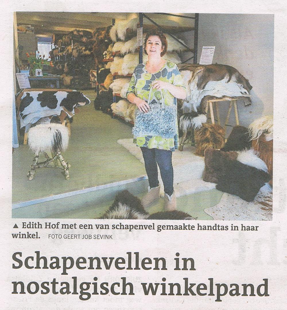 Schapenvachten winkel in Dagblad van het Noorden krant 2015