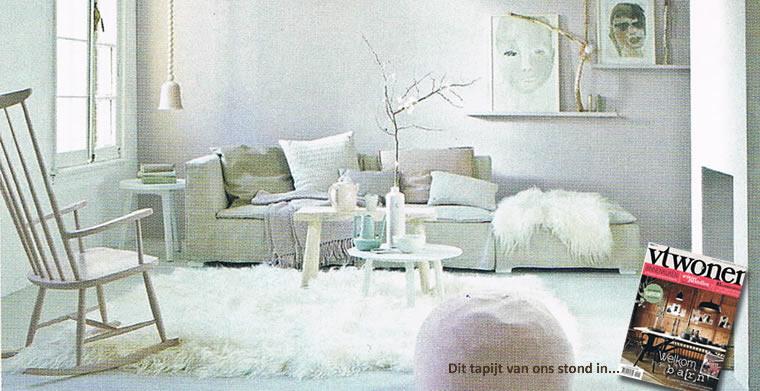 Hoogpolig wit tapijt van IJslandse schapenvacht