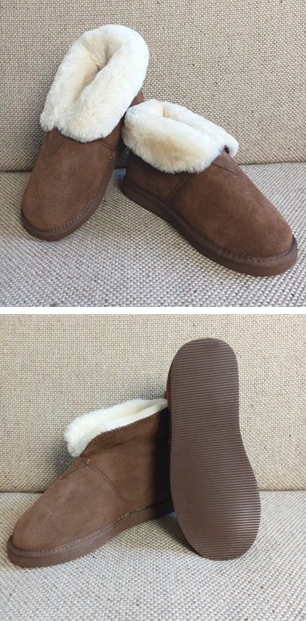 Pantoffel - hoog model - bruin